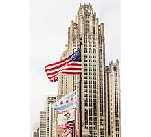 American and Chicago Flags Photographic Print