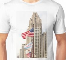 American and Chicago Flags Unisex T-Shirt