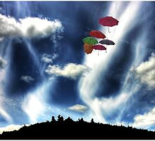 Umbrellas Over Hobart Hill by Wayne King