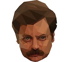 Ron Swanson Low Poly Photographic Print