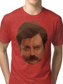 Ron Swanson Low Poly Tri-blend T-Shirt