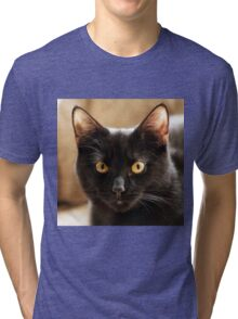 Black cat looking at camera Tri-blend T-Shirt