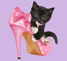 Cute Kitten with Shoe by Vitalia