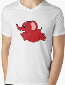 Plumpy Elephant Mens V-Neck T-Shirt
