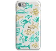 Gold & Turquoise Inked Fish iPhone Case/Skin