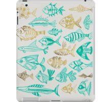 Gold & Turquoise Inked Fish iPad Case/Skin