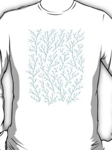 Turquoise Berry Branches on Navy T-Shirt