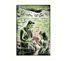 Frankenstein Boris Karloff girl flower classic picture show movie film hollywood famous monster of filmland Art Print