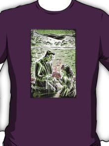 Frankenstein Boris Karloff girl flower classic picture show movie film hollywood famous monster of filmland T-Shirt