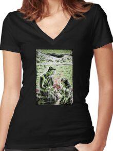 Frankenstein Boris Karloff girl flower classic picture show movie film hollywood famous monster of filmland Women's Fitted V-Neck T-Shirt