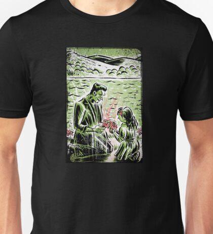 Frankenstein Boris Karloff girl flower classic picture show movie film hollywood famous monster of filmland Unisex T-Shirt