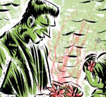 Frankenstein Boris Karloff girl flower classic picture show movie film hollywood famous monster of filmland Sticker