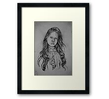 Girl with Green B and W Framed Print