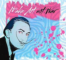 Make Art Not War - Salvador Dali Portrait by Pepe Psyche