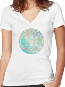 Floral Moroccan in Spring Pastels - Aqua, Pink, Mint & Peach Women's Fitted V-Neck T-Shirt