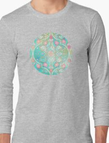 Floral Moroccan in Spring Pastels - Aqua, Pink, Mint & Peach Long Sleeve T-Shirt