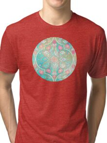 Floral Moroccan in Spring Pastels - Aqua, Pink, Mint & Peach Tri-blend T-Shirt