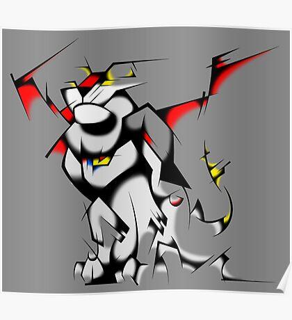 Black Voltron Lion Cubist Poster
