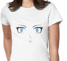 Cartoon female face Womens Fitted T-Shirt