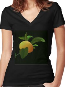 Lemon in the Rain Women's Fitted V-Neck T-Shirt