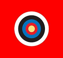 Bulls Eye, Right on Target, Roundel, Archery on Red by TOM HILL - Designer