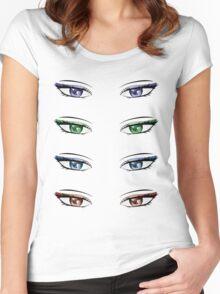 Cartoon female eyes Women's Fitted Scoop T-Shirt