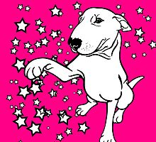 English Bull Terrier Giving a Paw by Sookiesooker
