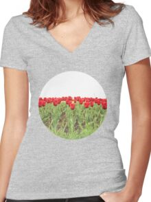 Red tulips 2 Women's Fitted V-Neck T-Shirt