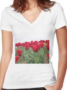 Red tulips 6 Women's Fitted V-Neck T-Shirt