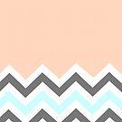 Color Blocked Chevron - Peach by Josrick