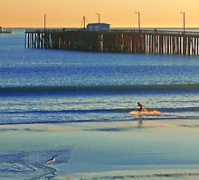 Surfer, Avila beach California. by Eyal Nahmias
