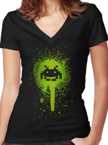 Space Blotch (Green ver.) Women's Fitted V-Neck T-Shirt