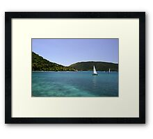 Sailboat At Saba Rock Framed Print