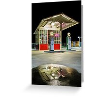 Gas Station Reflection Greeting Card