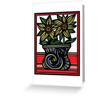 Sable Flowers Yellow Blue Green Greeting Card