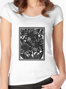 Salve Flowers Black and White Women's Fitted Scoop T-Shirt