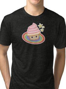 Sweet cupcake on a rainbow Tri-blend T-Shirt