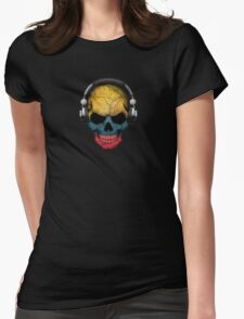 Dj Skull with Colombian Flag Womens Fitted T-Shirt