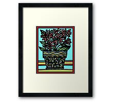 Moue Flowers Yellow Red Blue Framed Print