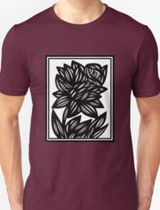 Eloquence Flowers Black and White Unisex T-Shirt