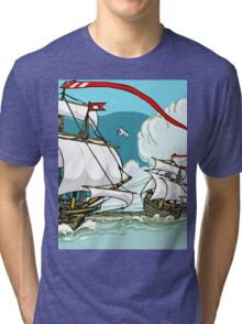 The Great Discoveries - Three Galleons Sailing Tri-blend T-Shirt