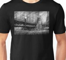 Chicago, IL - DuSable Bridge built in 1920  - BW Unisex T-Shirt