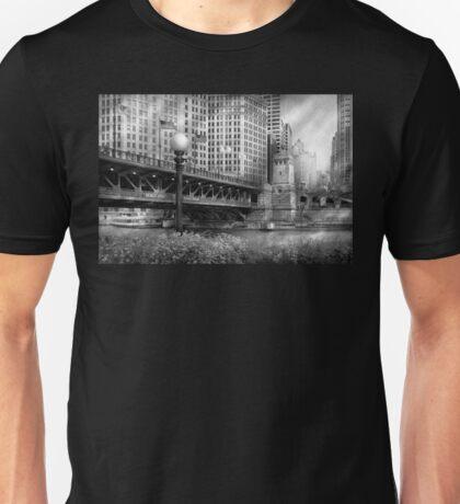 Chicago, IL - DuSable Bridge built in 1920  - BW Unisex T-Shirt