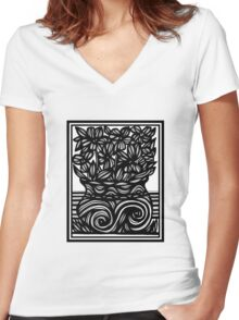 Knell Flowers Black and White Women's Fitted V-Neck T-Shirt