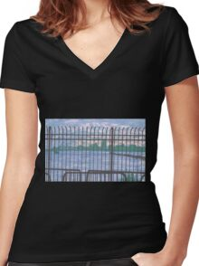 sunset at chelsea piers Women's Fitted V-Neck T-Shirt