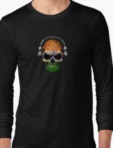 Dj Skull with Indian Flag Long Sleeve T-Shirt