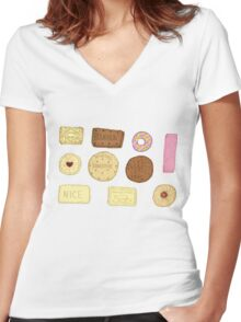 Best of British Biscuits. Women's Fitted V-Neck T-Shirt