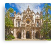Stylized photo of Spanish architecture:  Casa del Prado in Balboa Park, San Diego CA. Canvas Print