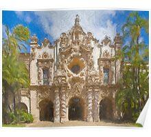 Stylized photo of Spanish architecture:  Casa del Prado in Balboa Park, San Diego CA. Poster