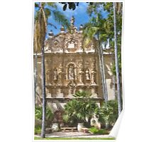 Stylized photo of Spanish architecture: Casa del Prado Theatre in Balboa Park, San Diego CA. Poster